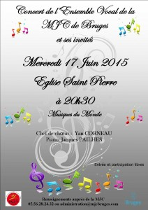 Concert de la Chorale MJC le 17/06 à 20h30 en l'Eglise St Pierre