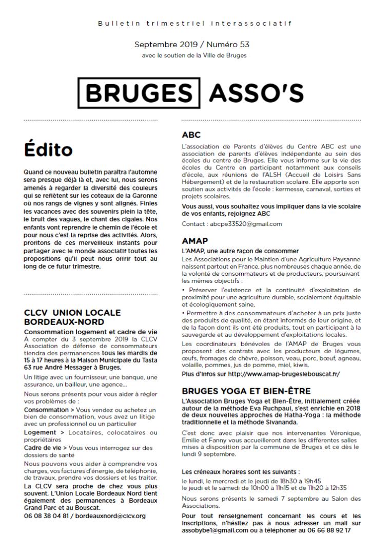 Bruges Asso's - Bulletin trimestriel interassociatif, Septembre 2019